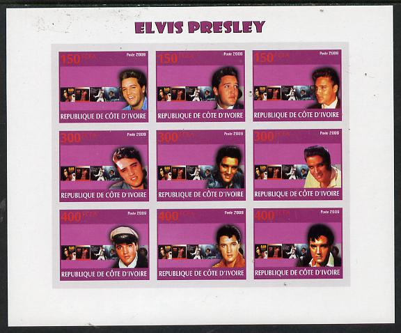 Ivory Coast 2009 Elvis Presley imperf sheetlet containing 9 values unmounted mint