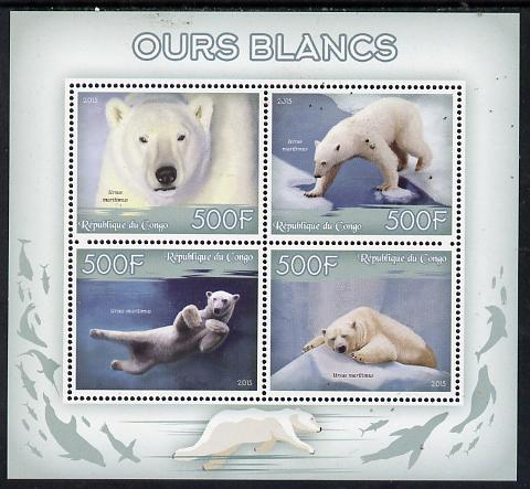 Congo 2015 Polar Bears perf sheetlet containing 4 values unmounted mint