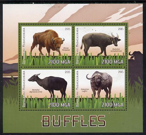 Madagascar 2015 Buffalo perf sheetlet containing 4 values unmounted mint