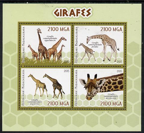 Madagascar 2015 Giraffes perf sheetlet containing 4 values unmounted mint