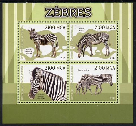 Madagascar 2015 Zebra perf sheetlet containing 4 values unmounted mint