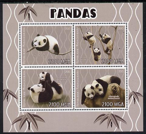 Madagascar 2015 Pandas perf sheetlet containing 4 values unmounted mint