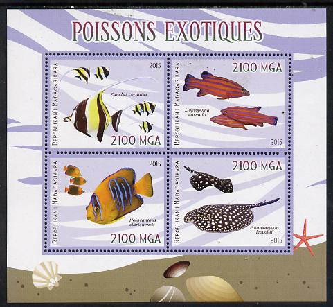 Madagascar 2015 Fish perf sheetlet containing 4 values unmounted mint