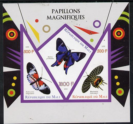 Mali 2015 Butterflies imperf sheetlet containing one diamond shaped & two triangular values unmounted mint