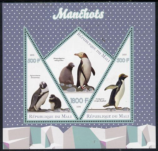 Mali 2015 Penguins perf sheetlet containing one diamond shaped & two triangular values unmounted mint