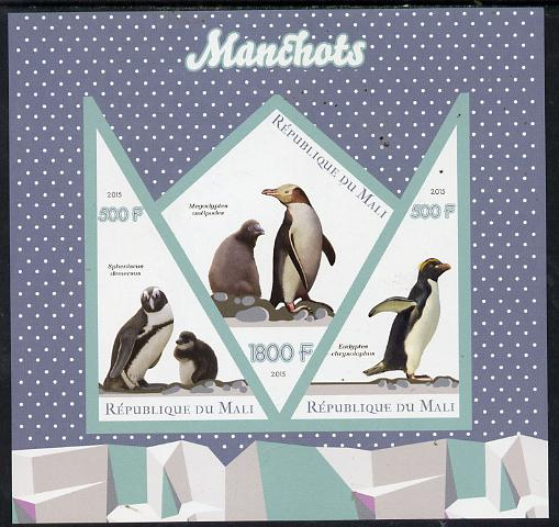 Mali 2015 Penguins imperf sheetlet containing one diamond shaped & two triangular values unmounted mint