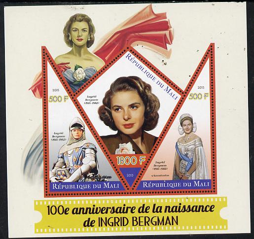 Mali 2015 Ingrid Bergman perf sheetlet containing one diamond shaped & two triangular values unmounted mint