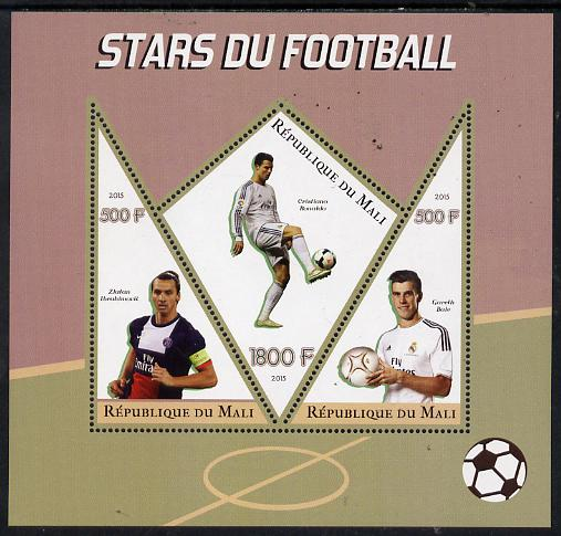 Mali 2015 Football Stars perf sheetlet containing one diamond shaped & two triangular values unmounted mint