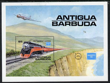 Antigua 1986 Ameripex '86 Stamp Exhibition (Famous American Trains) m/sheet unmounted mint SG MS 1018
