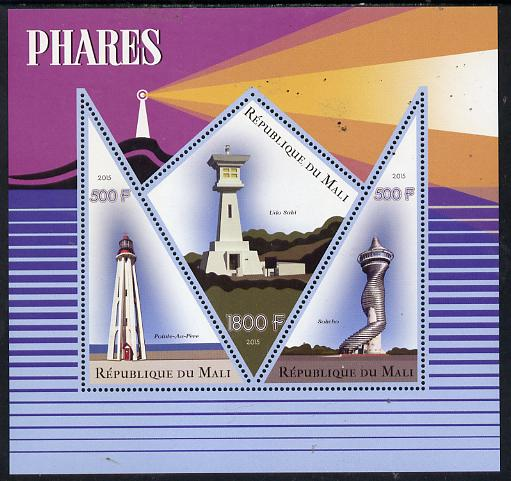 Mali 2015 Lighthouses perf sheetlet containing one diamond shaped & two triangular values unmounted mint