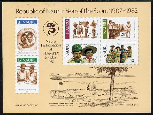 Nauru 1982 75th Anniversary of Scouting m/sheet unmounted mint, SG MS 262