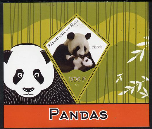Mali 2015 Pandas perf deluxe sheet containing one diamond shaped value unmounted mint