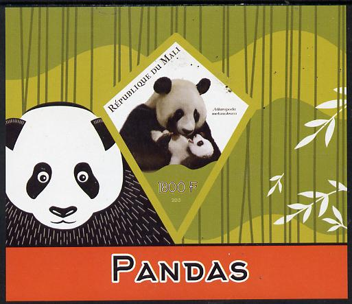 Mali 2015 Pandas imperf deluxe sheet containing one diamond shaped value unmounted mint