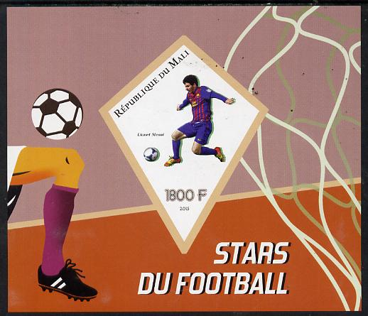 Mali 2015 Football Stars imperf deluxe sheet containing one diamond shaped value unmounted mint