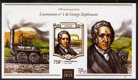 Niger Republic 2015 George Stephenson Anniversary #1 imperf s/sheet unmounted mint. Note this item is privately produced and is offered purely on its thematic appeal