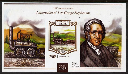 Niger Republic 2015 George Stephenson Anniversary #2 imperf s/sheet unmounted mint. Note this item is privately produced and is offered purely on its thematic appeal