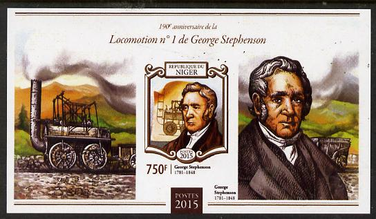 Niger Republic 2015 George Stephenson Anniversary #4 imperf s/sheet unmounted mint. Note this item is privately produced and is offered purely on its thematic appeal