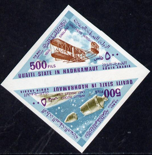 Aden - Quaiti 1968 Flight 500f triangular se-tenant imperf pair (Wright Brothers & Apollo), one inscribed in error 1909 England plus matched normal inscribed 1903 USA Min...