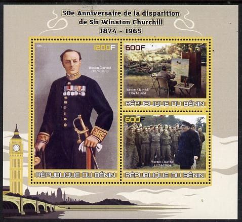 Benin 2015 50th Death Anniversary of Sir Winston Churchill perf sheet containing 3 values unmounted mint