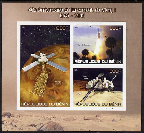 Benin 2015 40th Anniversary of Viking Probe imperf sheet containing 3 values unmounted mint