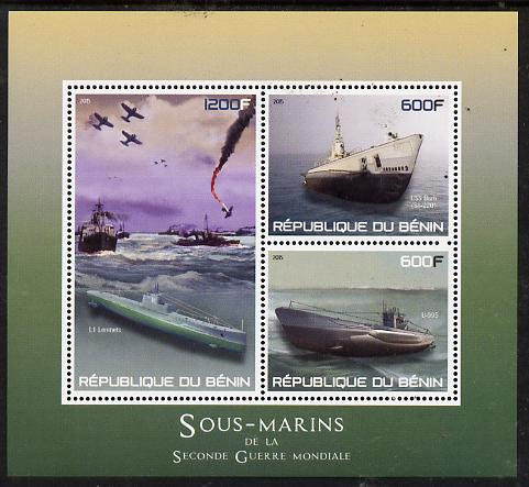 Benin 2015 Submarines perf sheet containing 3 values unmounted mint