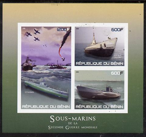 Benin 2015 Submarines imperf sheet containing 3 values unmounted mint