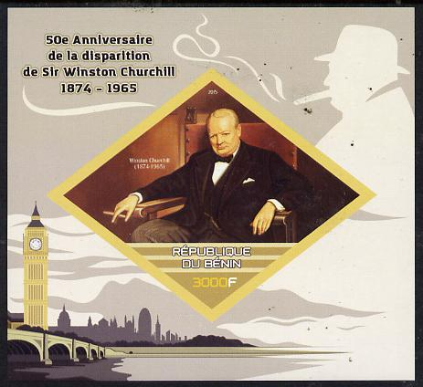 Benin 2015 50th Death Anniversary of Sir Winston Churchill imperf deluxe sheet containing one diamond shaped value  unmounted mint