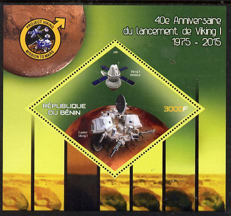 Benin 2015 40th Anniversary of Viking Probe perf deluxe sheet containing one diamond shaped value  unmounted mint