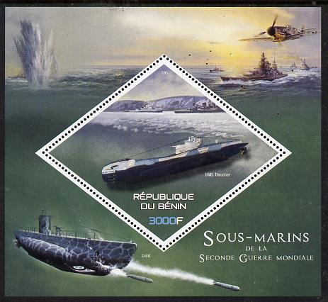 Benin 2015 Submarines perf deluxe sheet containing one diamond shaped value  unmounted mint