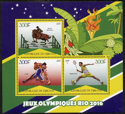 Djibouti 2015 Rio Olympic Games perf sheet containing 3 values unmounted mint