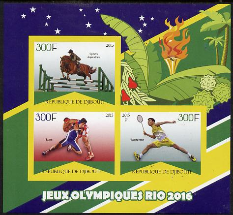 Djibouti 2015 Rio Olympic Games imperf sheet containing 3 values unmounted mint