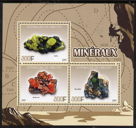 Djibouti 2015 Minerals perf sheet containing 3 values unmounted mint