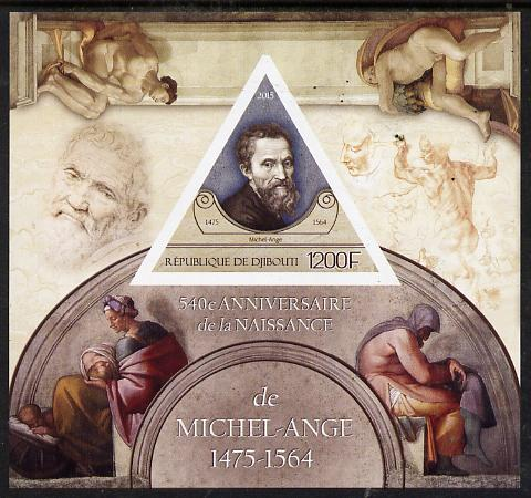 Djibouti 2015 540th Birth Anniversary of Michelangelo imperf deluxe sheet containing one triangular value unmounted mint