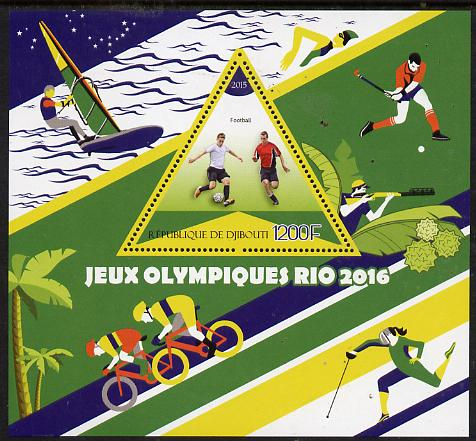 Djibouti 2015 Rio Olympic Games perf deluxe sheet containing one triangular value unmounted mint