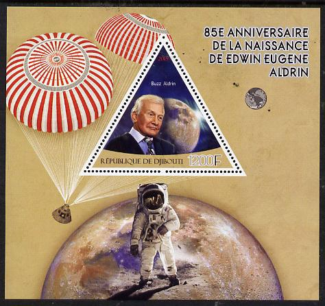 Djibouti 2015 85th Birth Anniversary of Edwin Aldrin perf deluxe sheet containing one triangular value unmounted mint