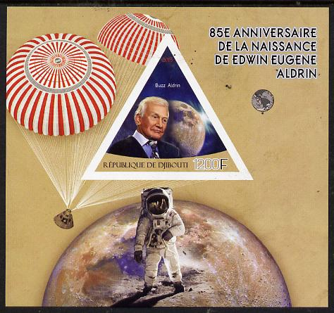 Djibouti 2015 85th Birth Anniversary of Edwin Aldrin imperf deluxe sheet containing one triangular value unmounted mint