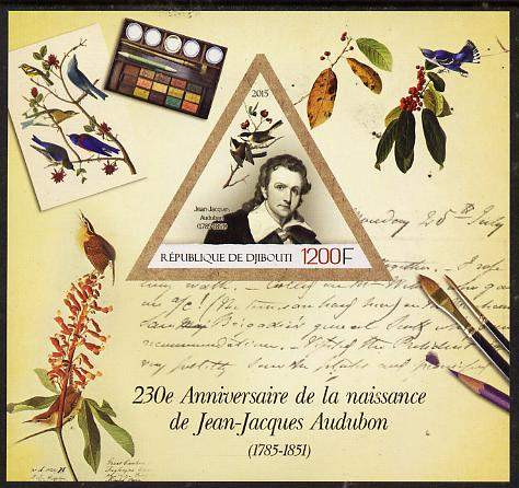 Djibouti 2015 230th Birth Anniversary of John Audubon imperf deluxe sheet containing one triangular value unmounted mint