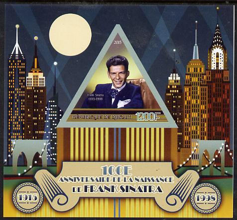 Djibouti 2015 Birth Centenary of Frank Sinatra imperf deluxe sheet containing one triangular value unmounted mint