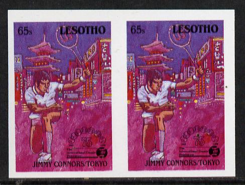 Lesotho 1988 Tennis Federation 65s (Jimmy Connors) unmounted mint imperf proof pair (as SG 846)*, stamps on sport  tennis