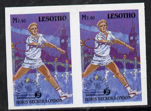 Lesotho 1988 Tennis Federation 2m40 (Boris Becker) unmounted mint imperf proof pair (as SG 850)*