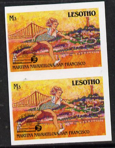Lesotho 1988 Tennis Federation 3m (Martina Navratilova) unmounted mint imperf proof pair (as SG 851)*