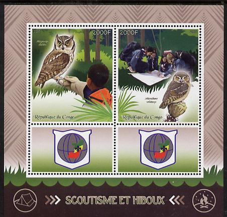 Congo 2015 Scouts & Owls perf sheetlet containing 2 stamps & 2 labels unmounted mint