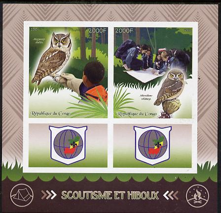 Congo 2015 Scouts & Owls imperf sheetlet containing 2 stamps & 2 labels unmounted mint