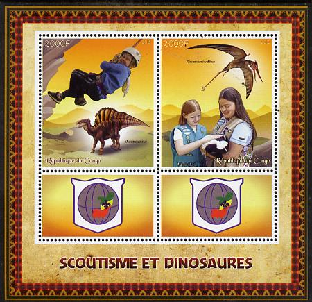 Congo 2015 Scouts & Dinosaurs perf sheetlet containing 2 stamps & 2 labels unmounted mint
