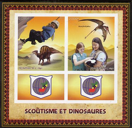 Congo 2015 Scouts & Dinosaurs imerf sheetlet containing 2 stamps & 2 labels unmounted mint