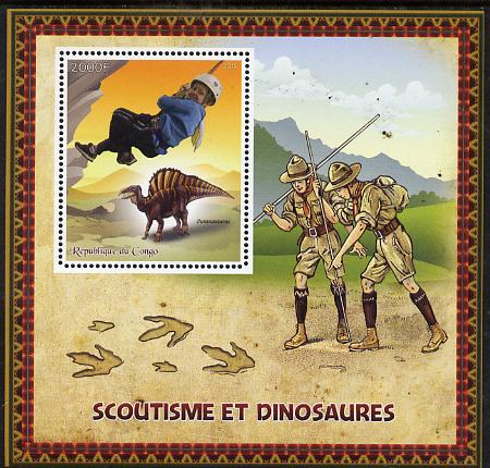 Congo 2015 Scouts & Dinosaurs perf deluxe sheet #1 containing one value unmounted mint