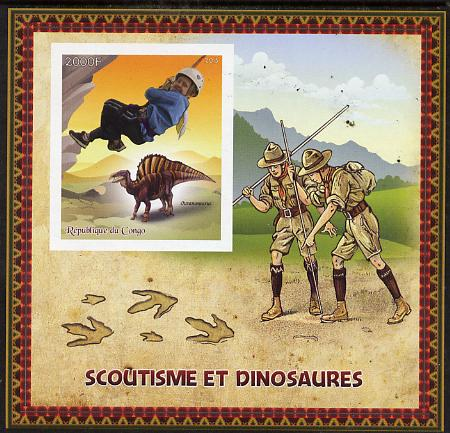 Congo 2015 Scouts & Dinosaurs imperf deluxe sheet #1 containing one value unmounted mint