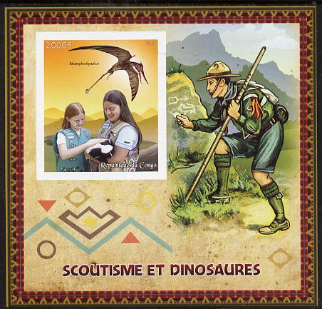 Congo 2015 Scouts & Dinosaurs imperf deluxe sheet #2 containing one value unmounted mint , stamps on scouts, stamps on dinosaurs