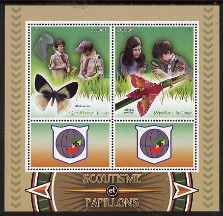 Congo 2015 Scouts & Butterflies perf sheetlet containing 2 stamps & 2 labels unmounted mint