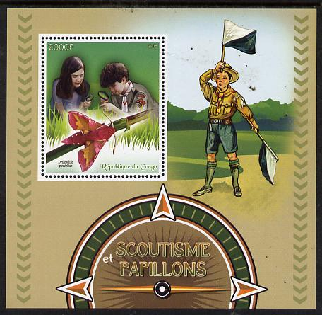 Congo 2015 Scouts & Butterflies perf deluxe sheet #1 containing one value unmounted mint